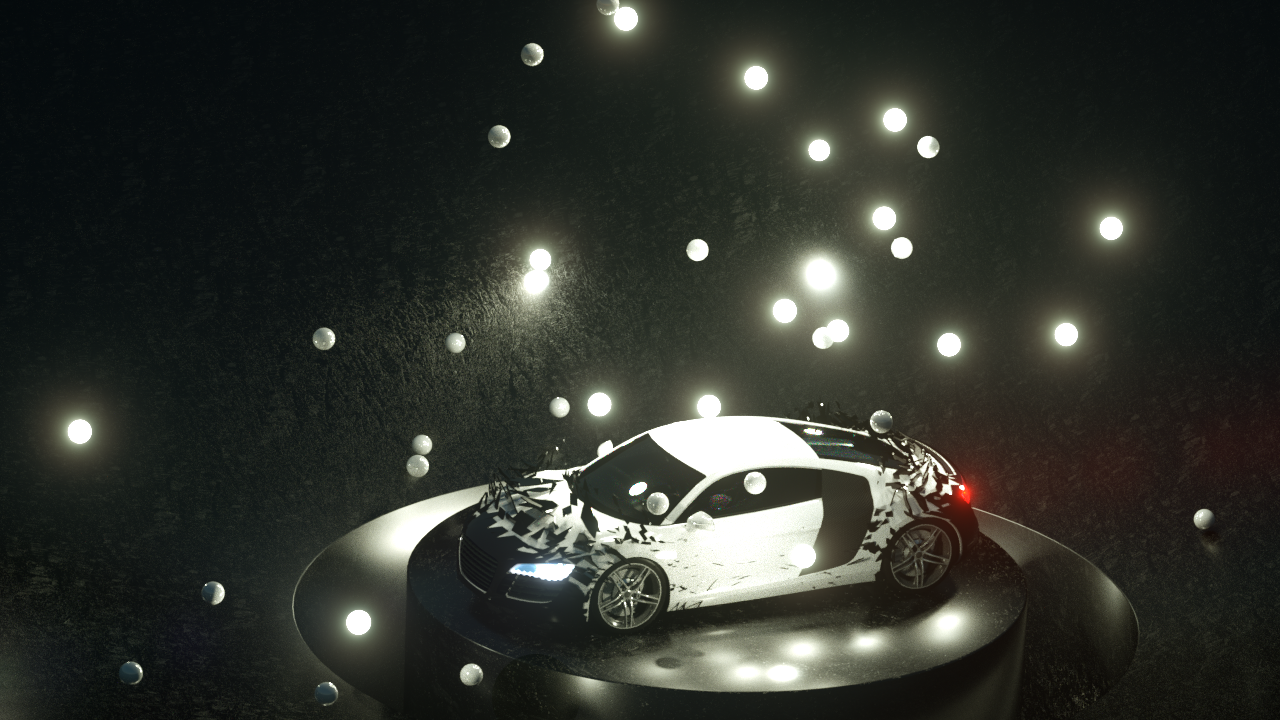 Scene lit by mograph self illuminated spheres