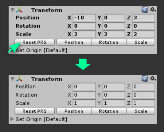 Tip: Reset position, rotation and scale in Unity 3D